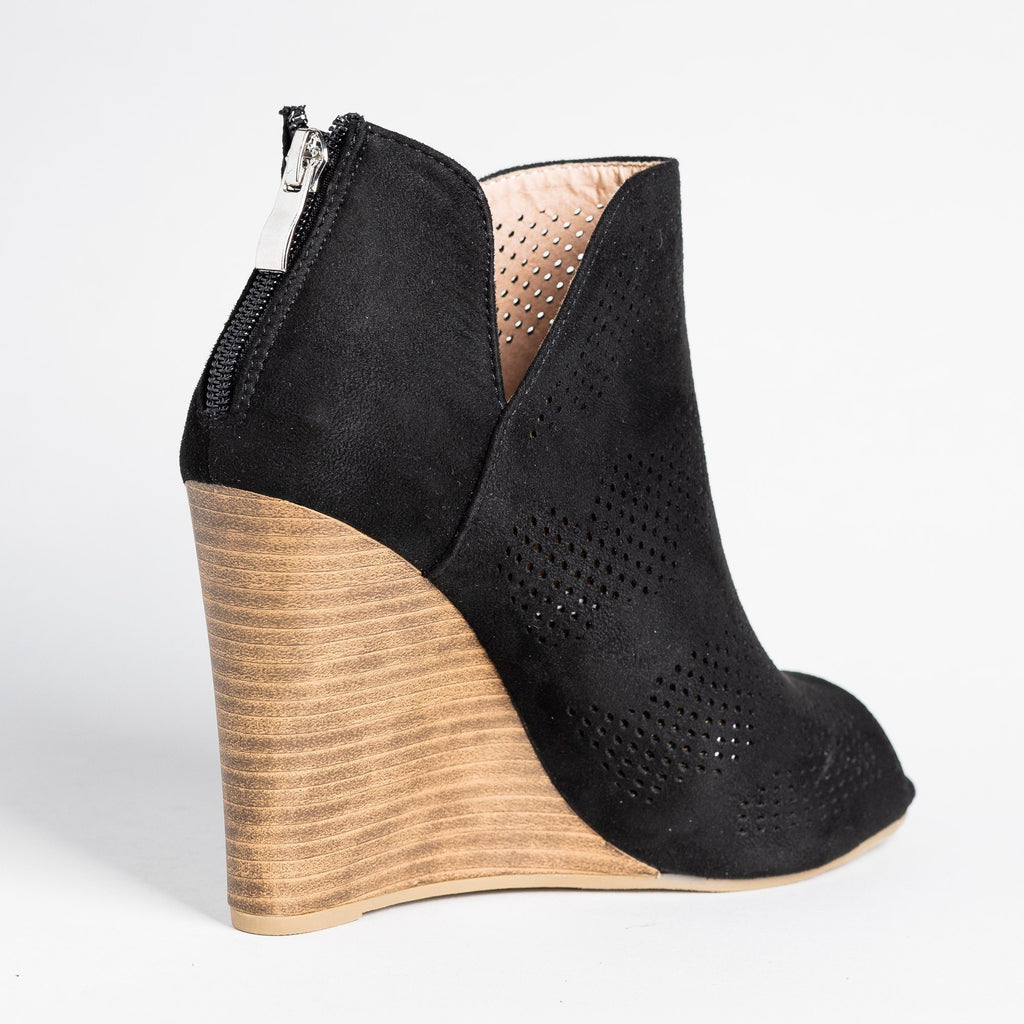 Womens Sassy Laser-Cut Open-Toe Wedges - Yoki