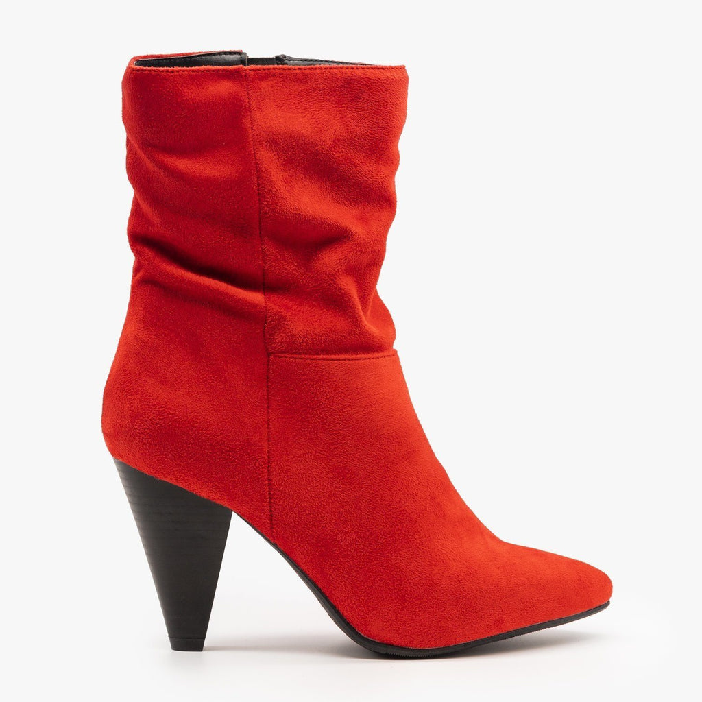 Womens Sassy Mid-Calf Heeled Boots - Qupid Shoes - Red / 5