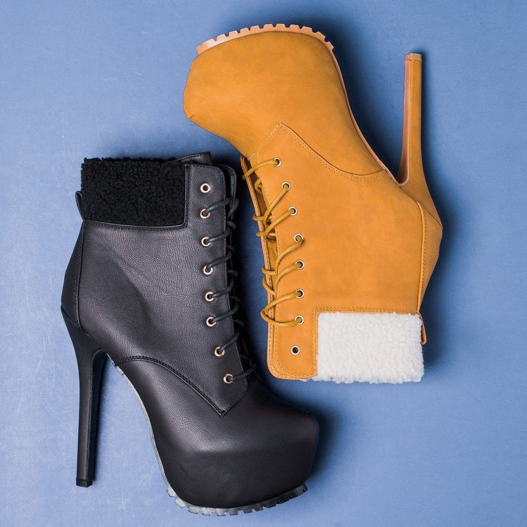Womens Sassy Platform Ankle Boots - Bella Marie