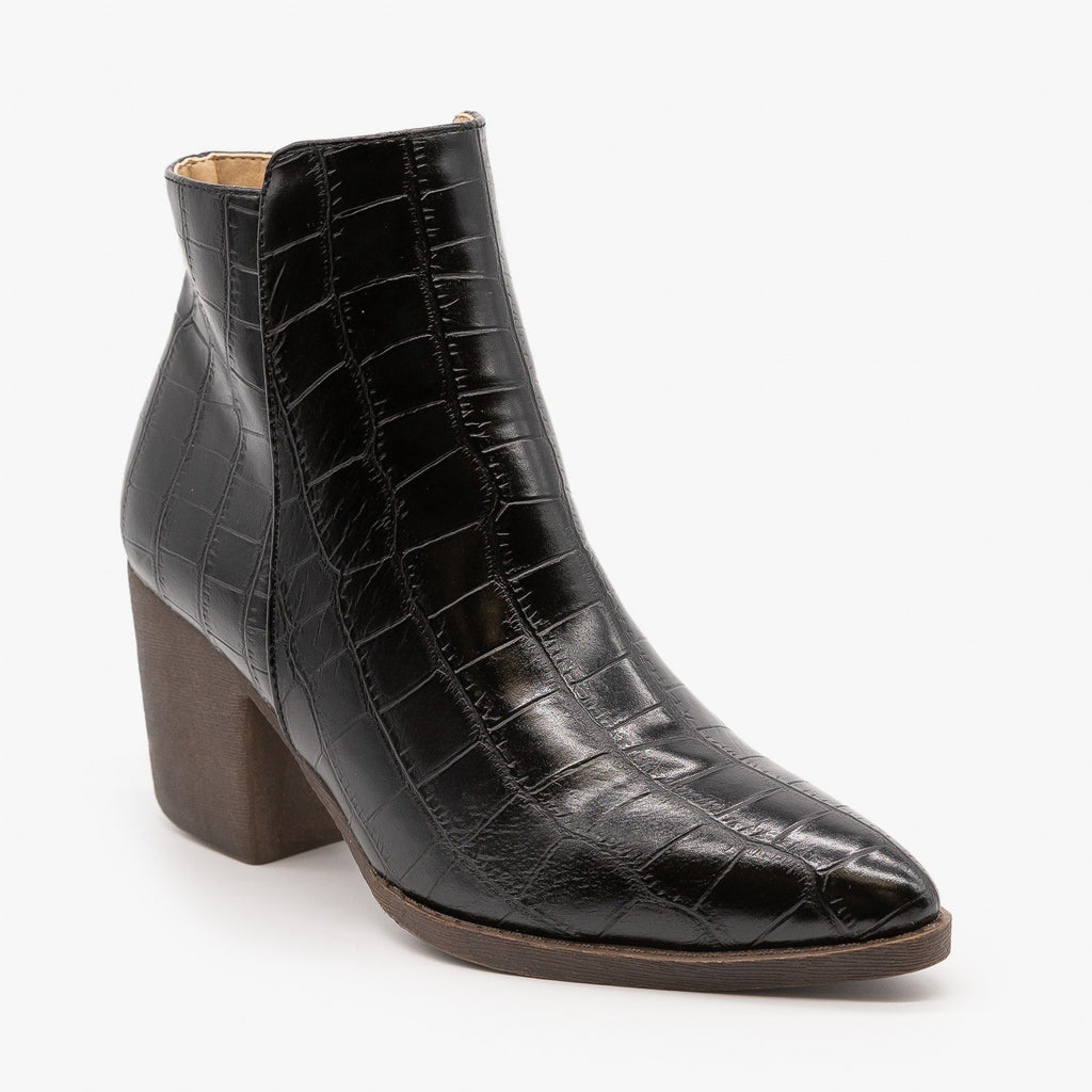 Womens Sassy Pointed Toe Crocodile Booties - Mata - Black / 5