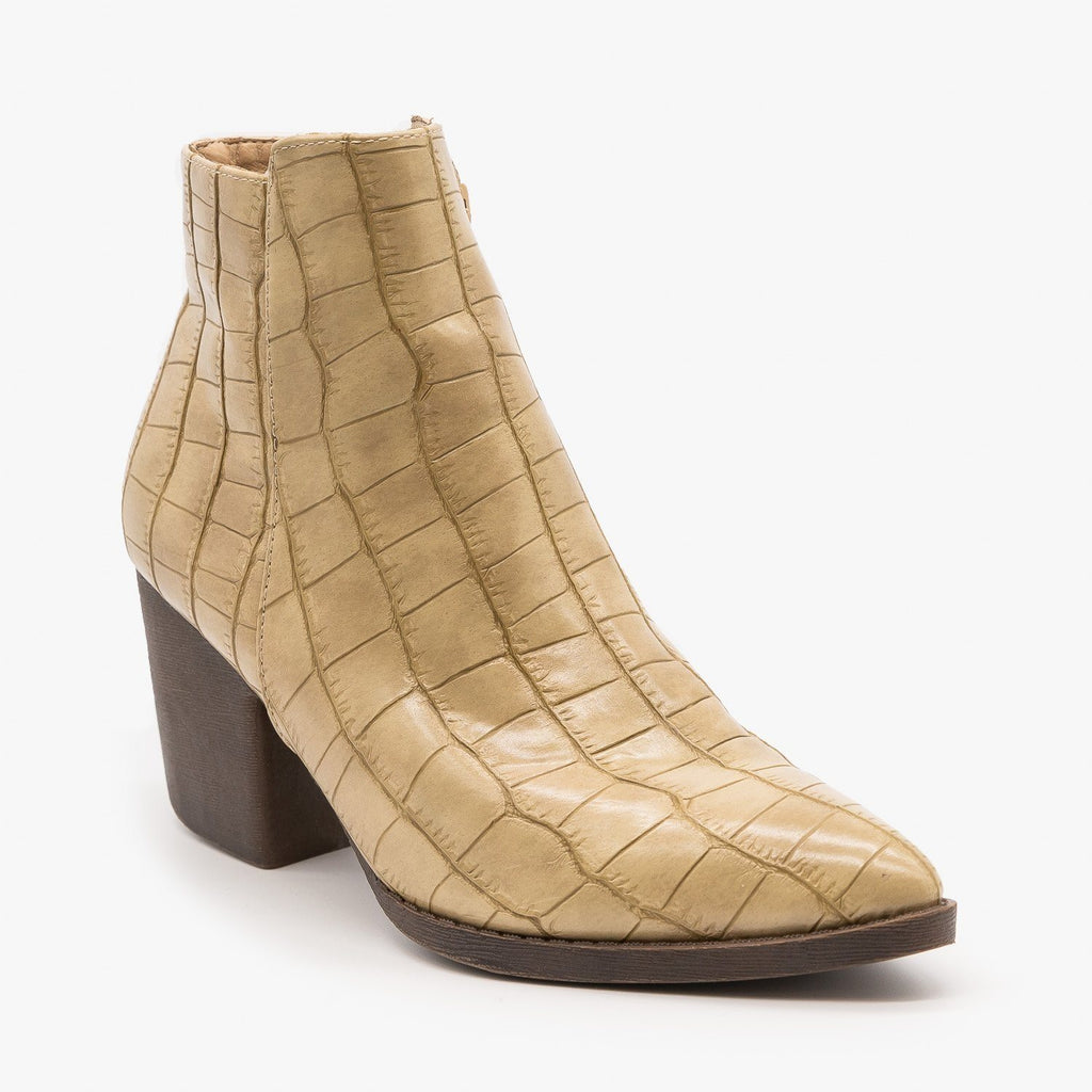 Womens Sassy Pointed Toe Crocodile Booties - Mata - Beige Crocodile / 5