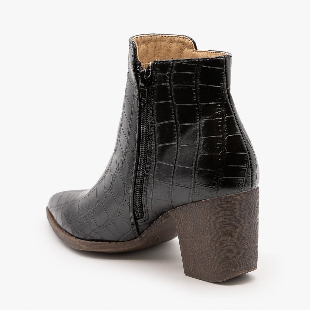 Womens Sassy Pointed Toe Crocodile Booties - Mata