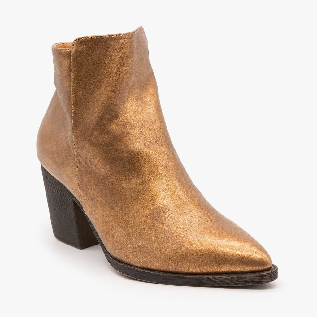 Womens Sassy Pointed Toe Metallic Booties - Mata - Brown Metallic / 5