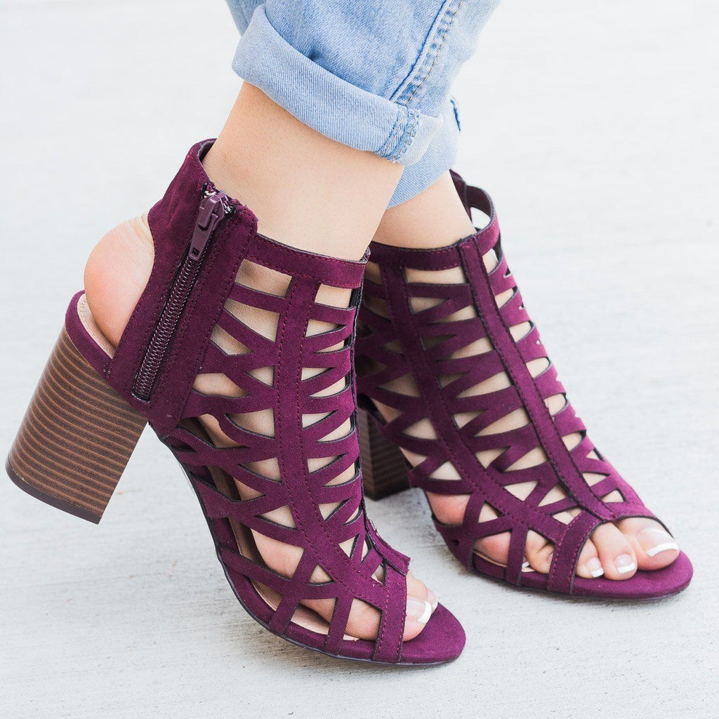 Womens Sassy Strappy Peep Toe Heel - Shoelala - Purple / 5