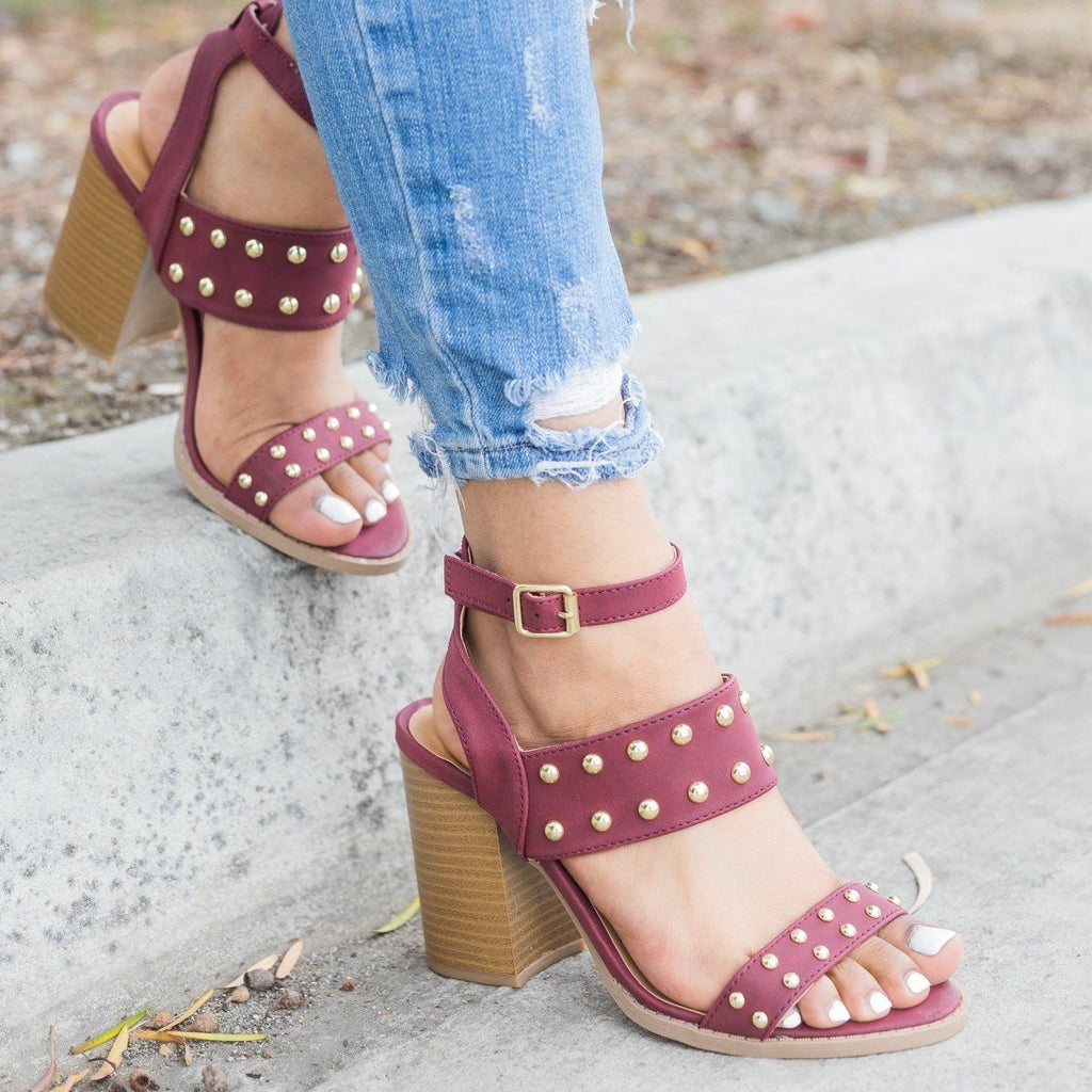 Womens Sassy Studded Chunky Heels - Qupid Shoes