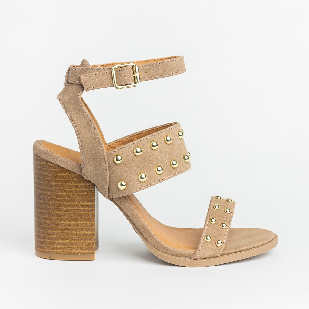 Womens Sassy Studded Chunky Heels - Qupid Shoes - Taupe / 5