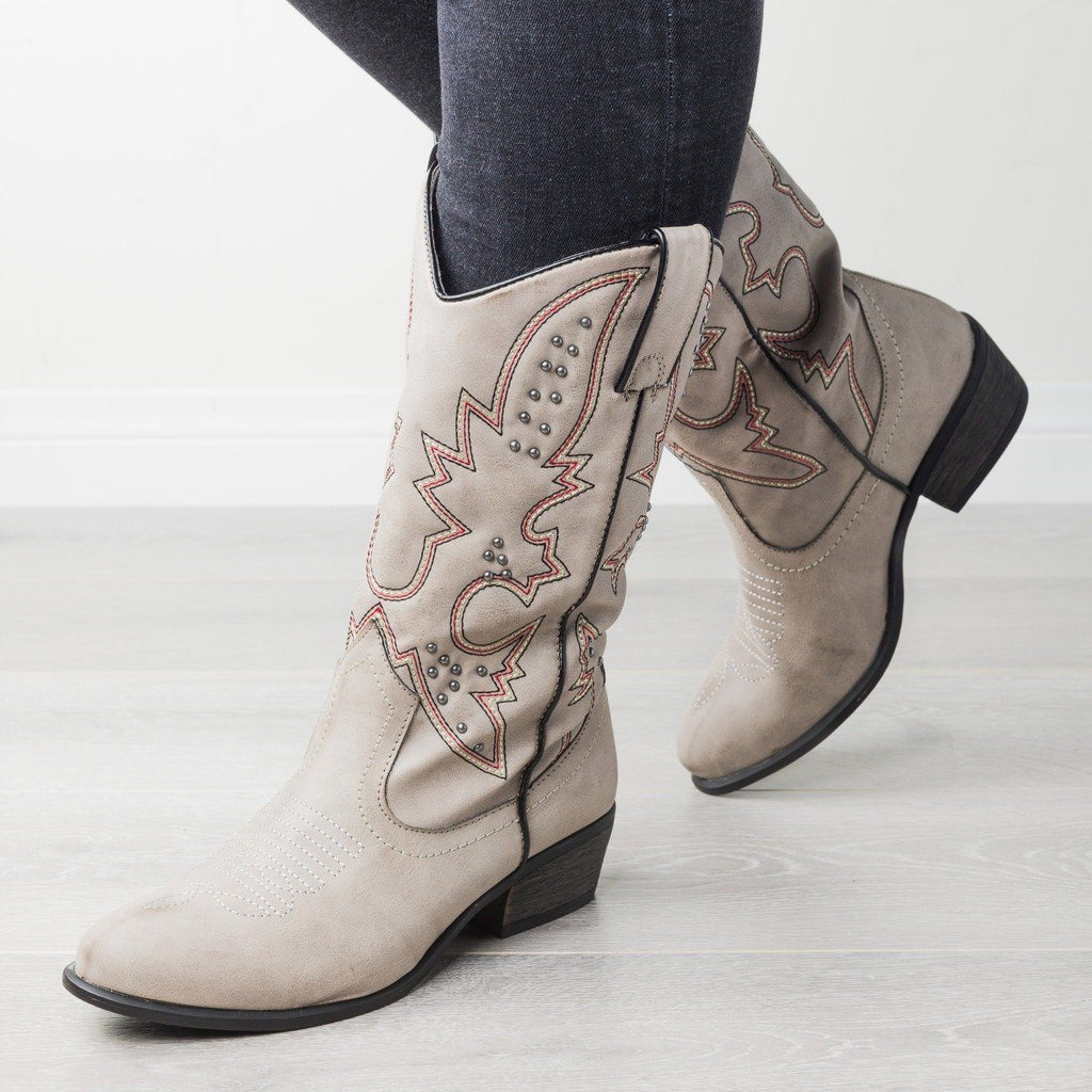 Womens Sassy Studded Cowboy Boots - Bamboo Shoes - Gray / 5