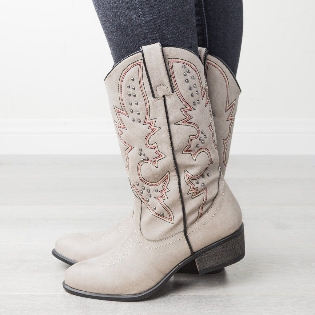 Womens Sassy Studded Cowboy Boots - Bamboo Shoes