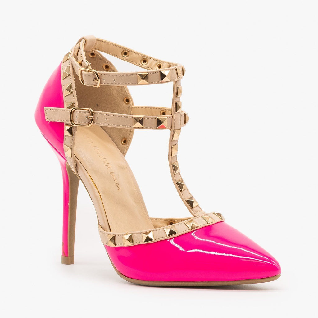 Womens Sassy Studded Stiletto Heels - Wild Diva Shoes