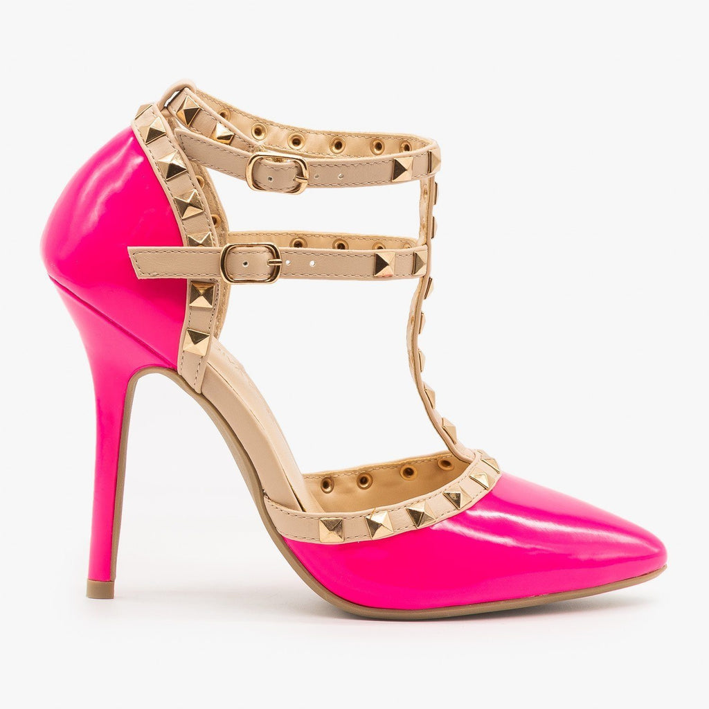 Womens Sassy Studded Stiletto Heels - Wild Diva Shoes - Neon Pink / 5