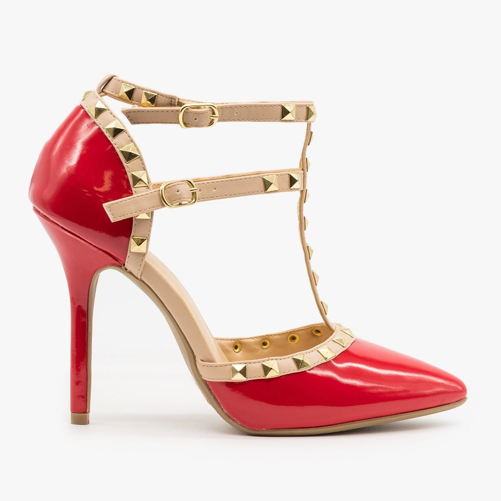 Womens Sassy Studded Stiletto Heels - Wild Diva Shoes - Red / 5
