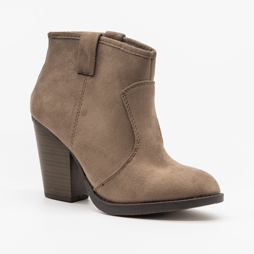 Womens Sassy Western-Inspired Ankle Booties - Soda Shoes - Taupe / 5