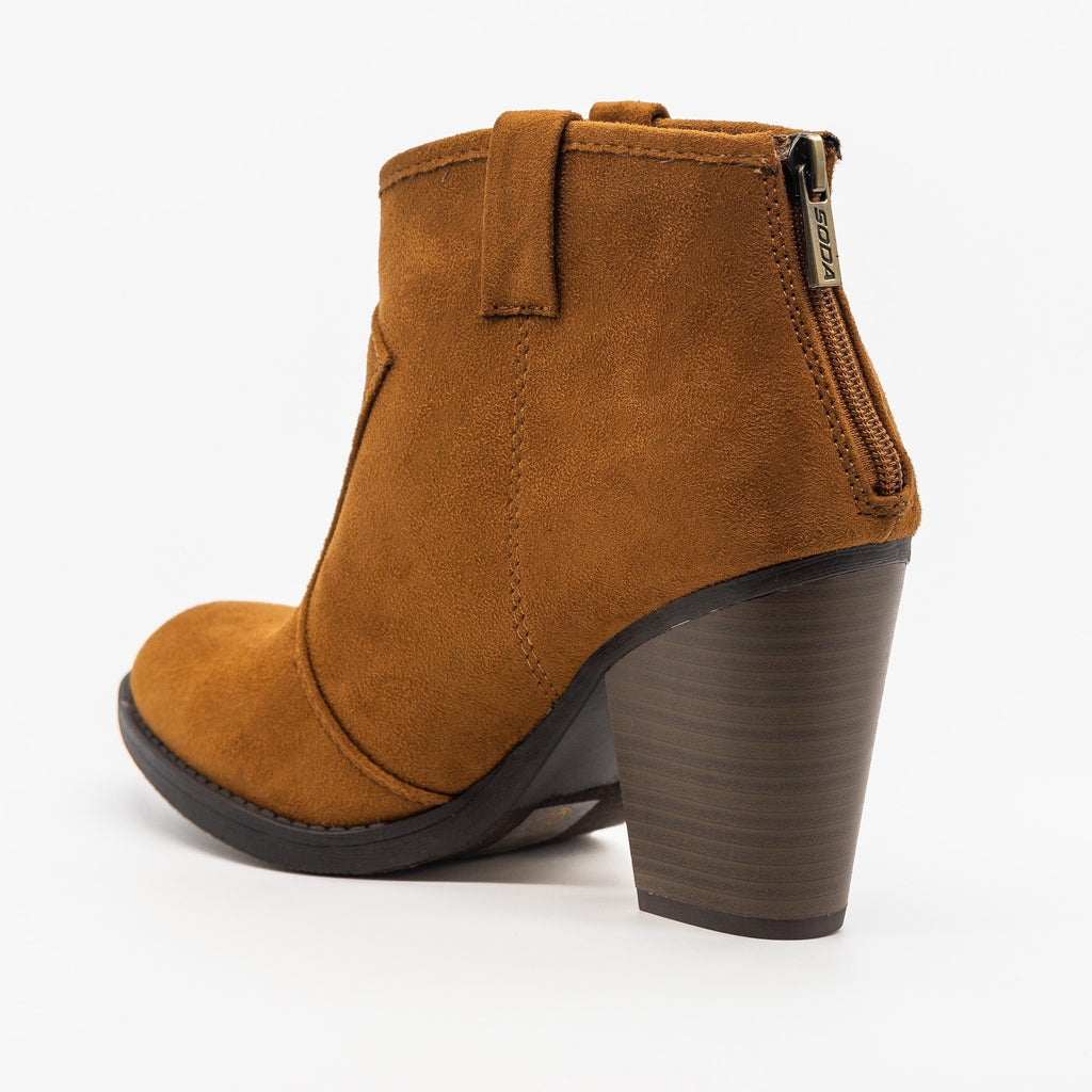 Womens Sassy Western-Inspired Ankle Booties - Soda Shoes