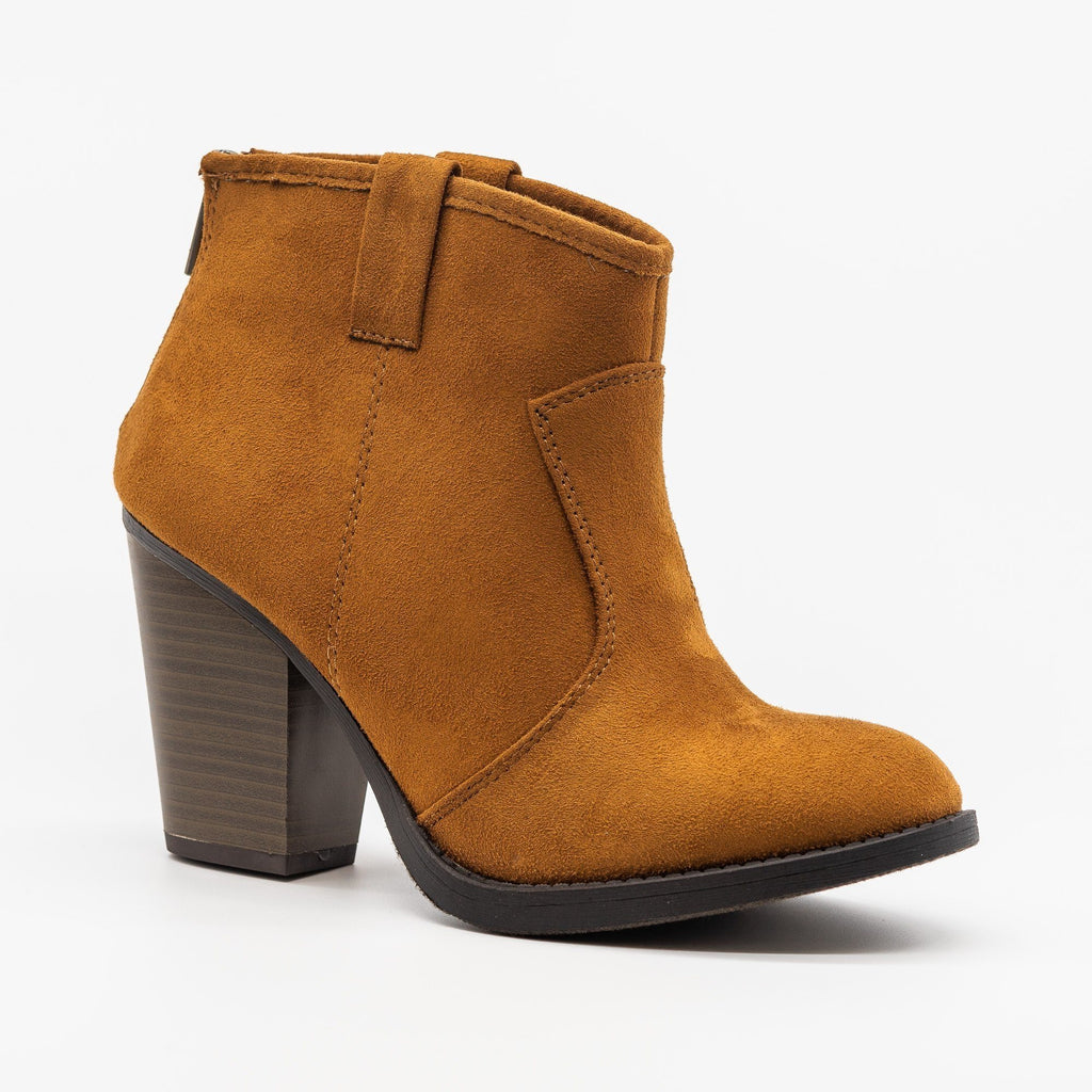 Womens Sassy Western-Inspired Ankle Booties - Soda Shoes - Hazel / 5