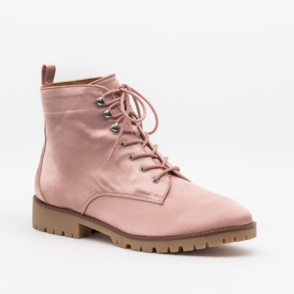 Womens Satin Fashion Lace-Up Combat Boots - Qupid Shoes - Mauve / 5
