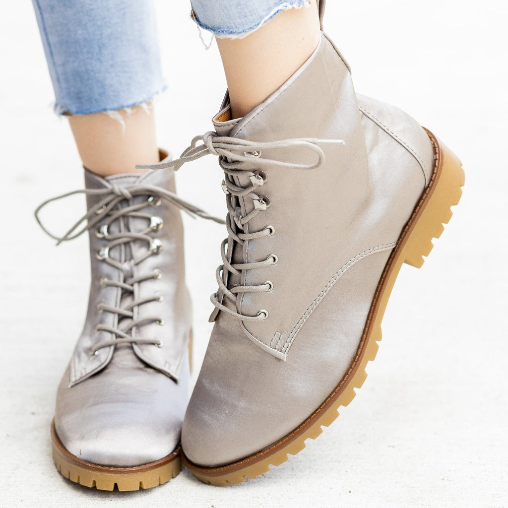 Womens Satin Fashion Lace-Up Combat Boots - Qupid Shoes
