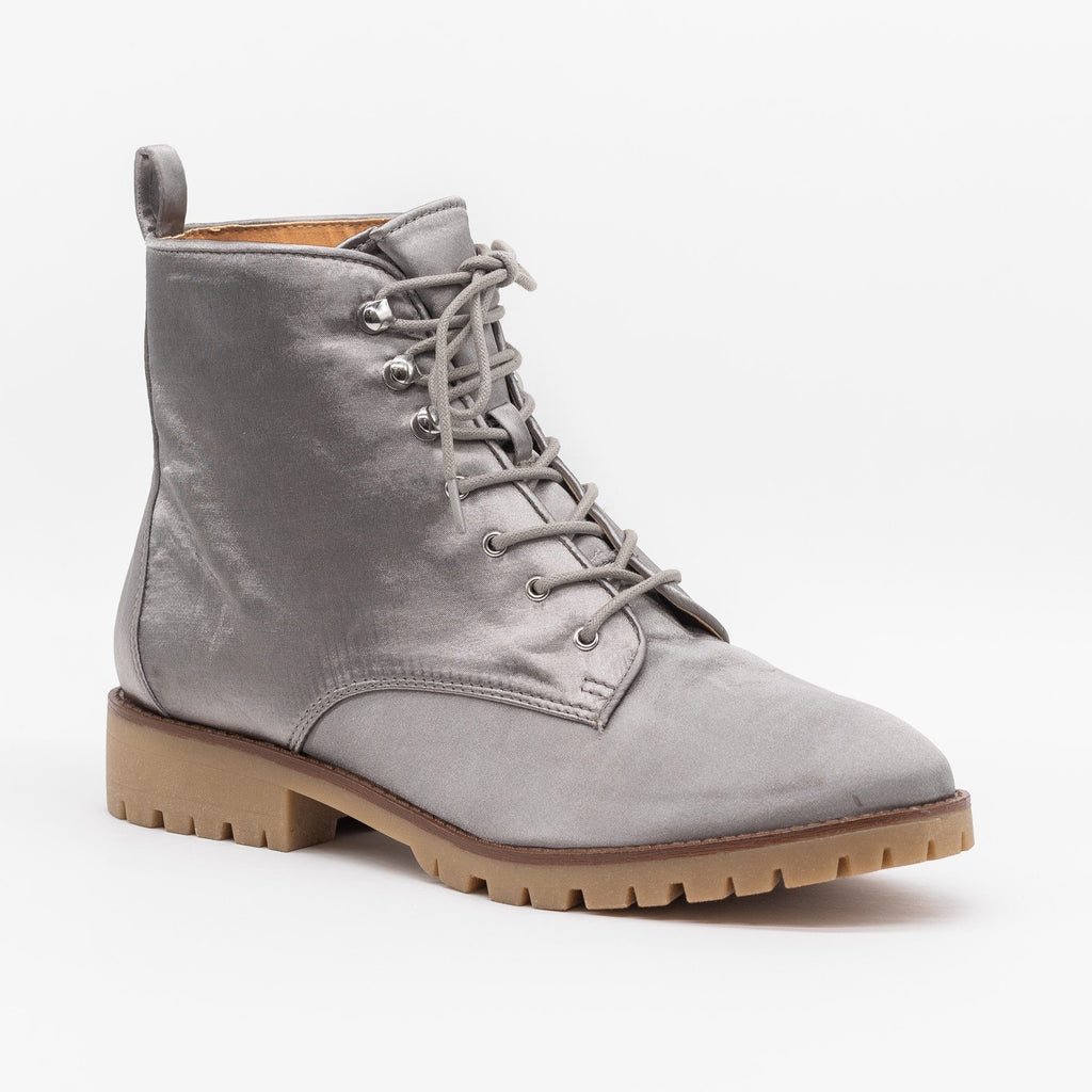 Womens Satin Fashion Lace-Up Combat Boots - Qupid Shoes - Light Gray / 5