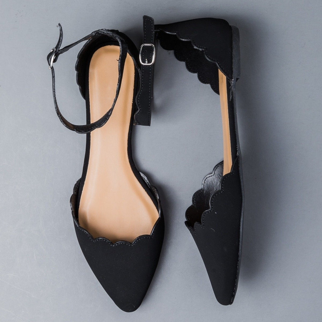 Scalloped Ankle Strap Flats Bamboo