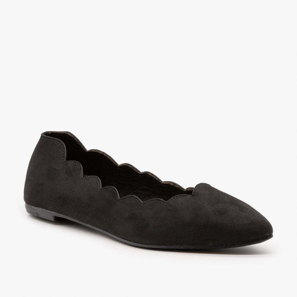 Womens Scalloped Edge Ballet Flat - Bamboo Shoes - Black / 5