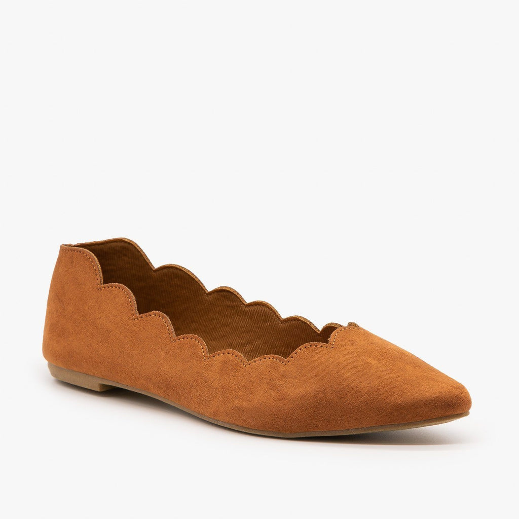 Womens Scalloped Edge Ballet Flat - Bamboo Shoes - Dark Camel / 5