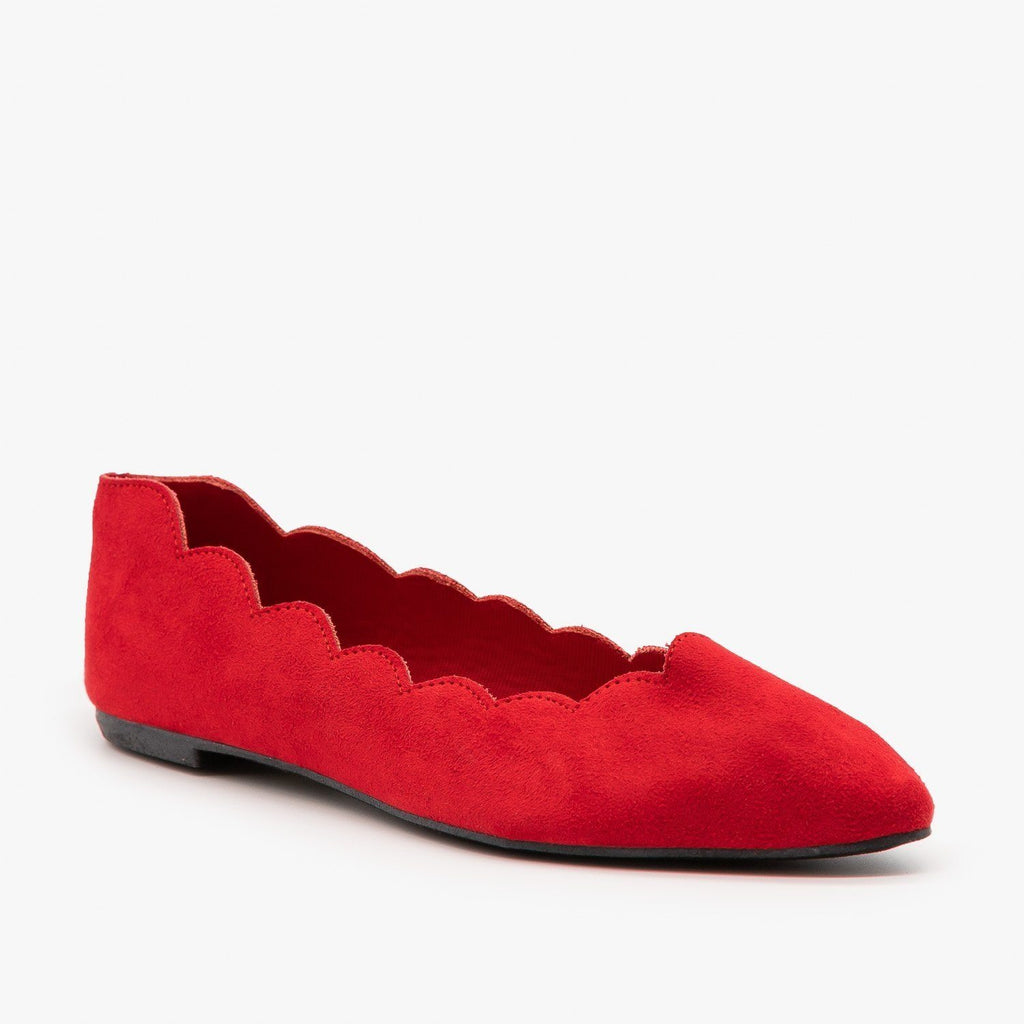 Womens Scalloped Edge Ballet Flat - Bamboo Shoes - Red / 5