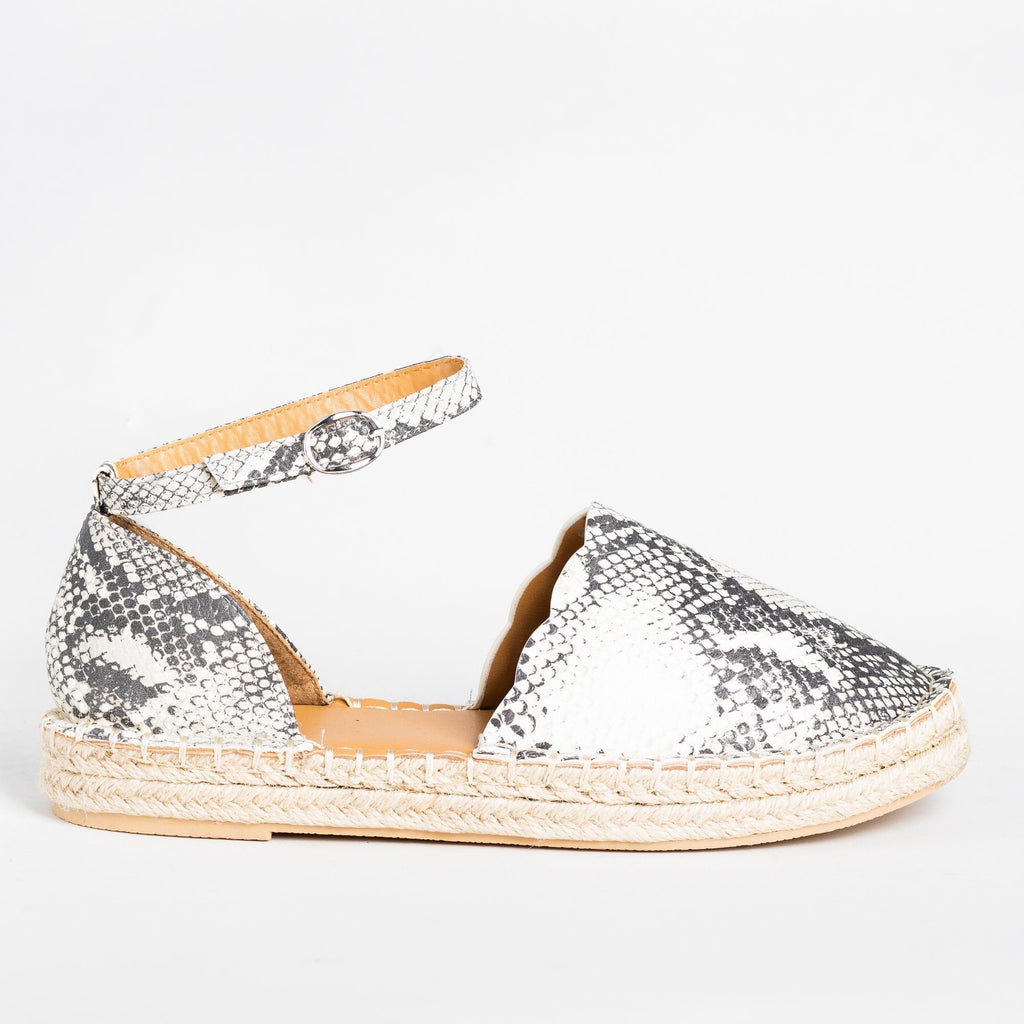 Womens Scalloped Edge Espadrille Flats - Qupid Shoes - Stone Black Snake / 5