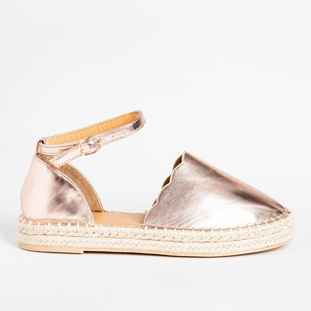 Womens Scalloped Edge Espadrille Flats - Qupid Shoes - Rose Gold / 5