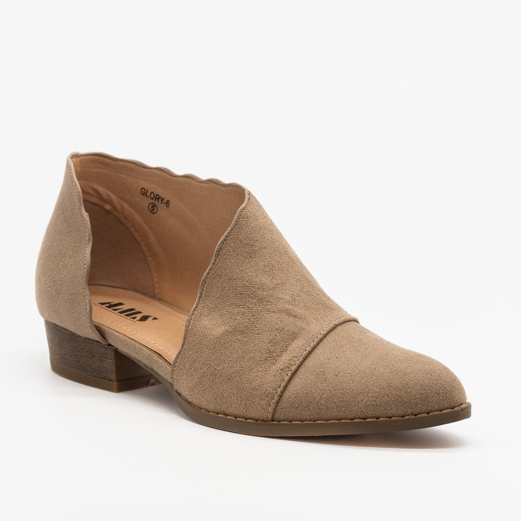 Womens Scalloped Edge Side Cut Out Flats - AMS Shoes - Taupe / 5