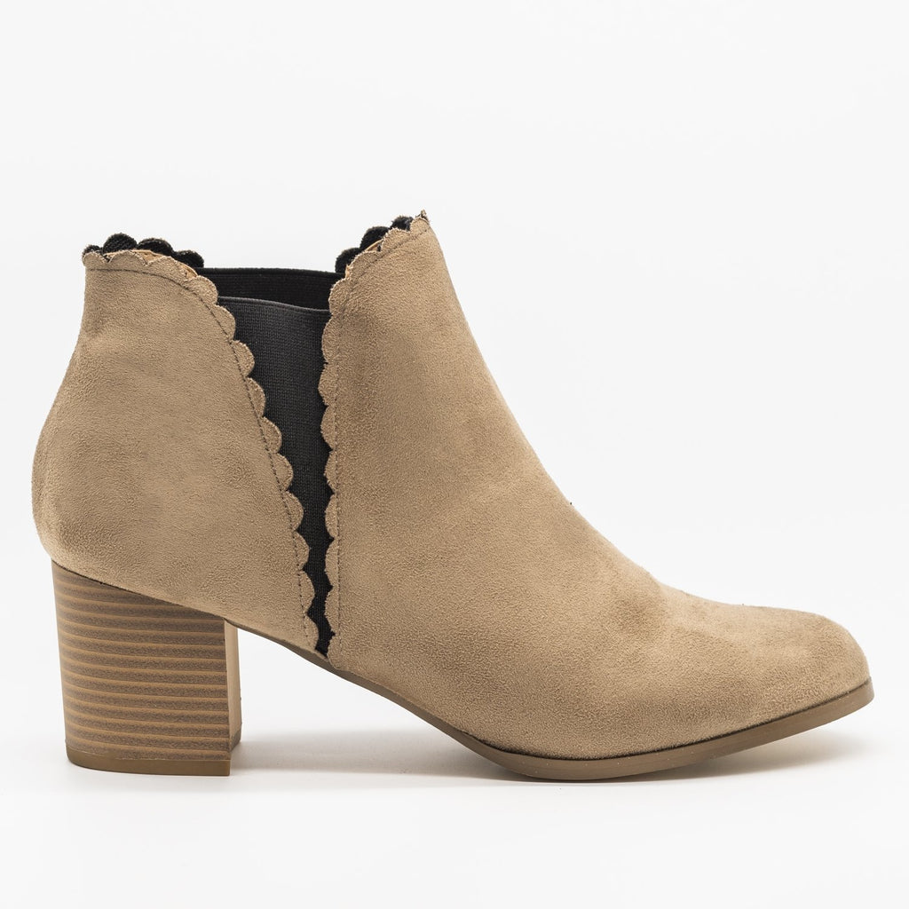 Womens Scalloped Side Cut Ankle Booties - AMS Shoes - Taupe / 5