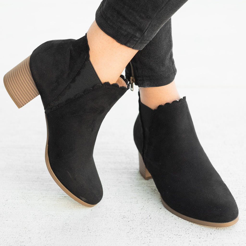 Womens Scalloped Side Cut Ankle Booties - AMS Shoes - Black / 5