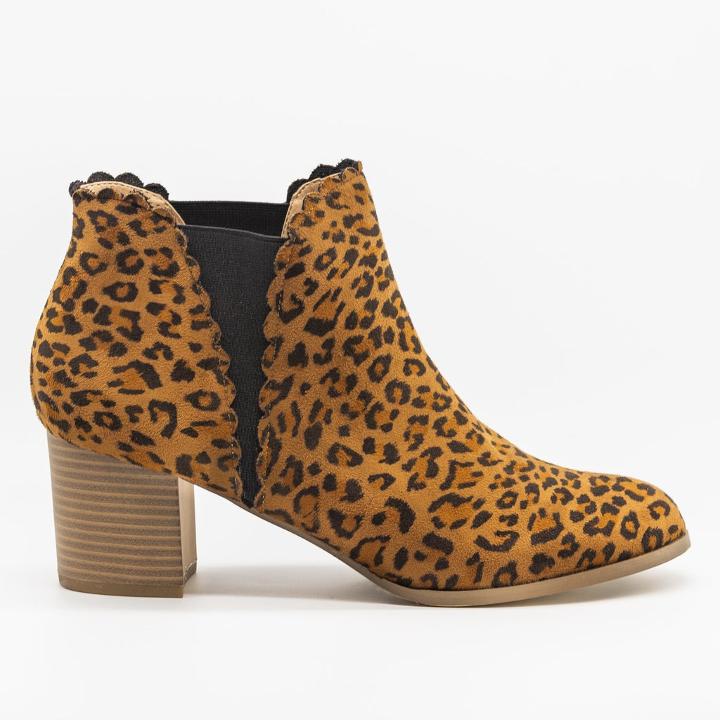 Womens Scalloped Side Cut Ankle Booties - AMS Shoes - Leopard / 5