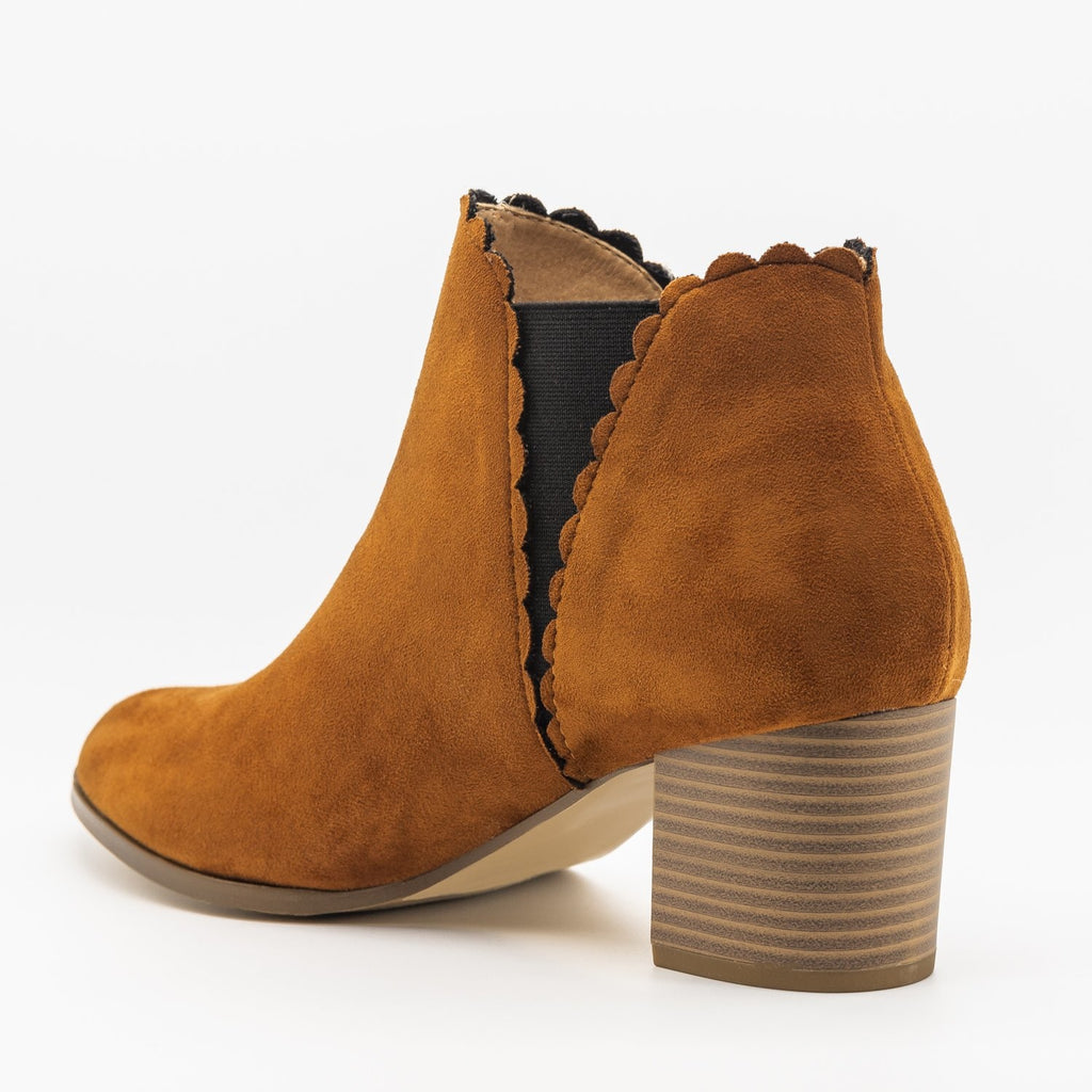 Womens Scalloped Side Cut Ankle Booties - AMS Shoes