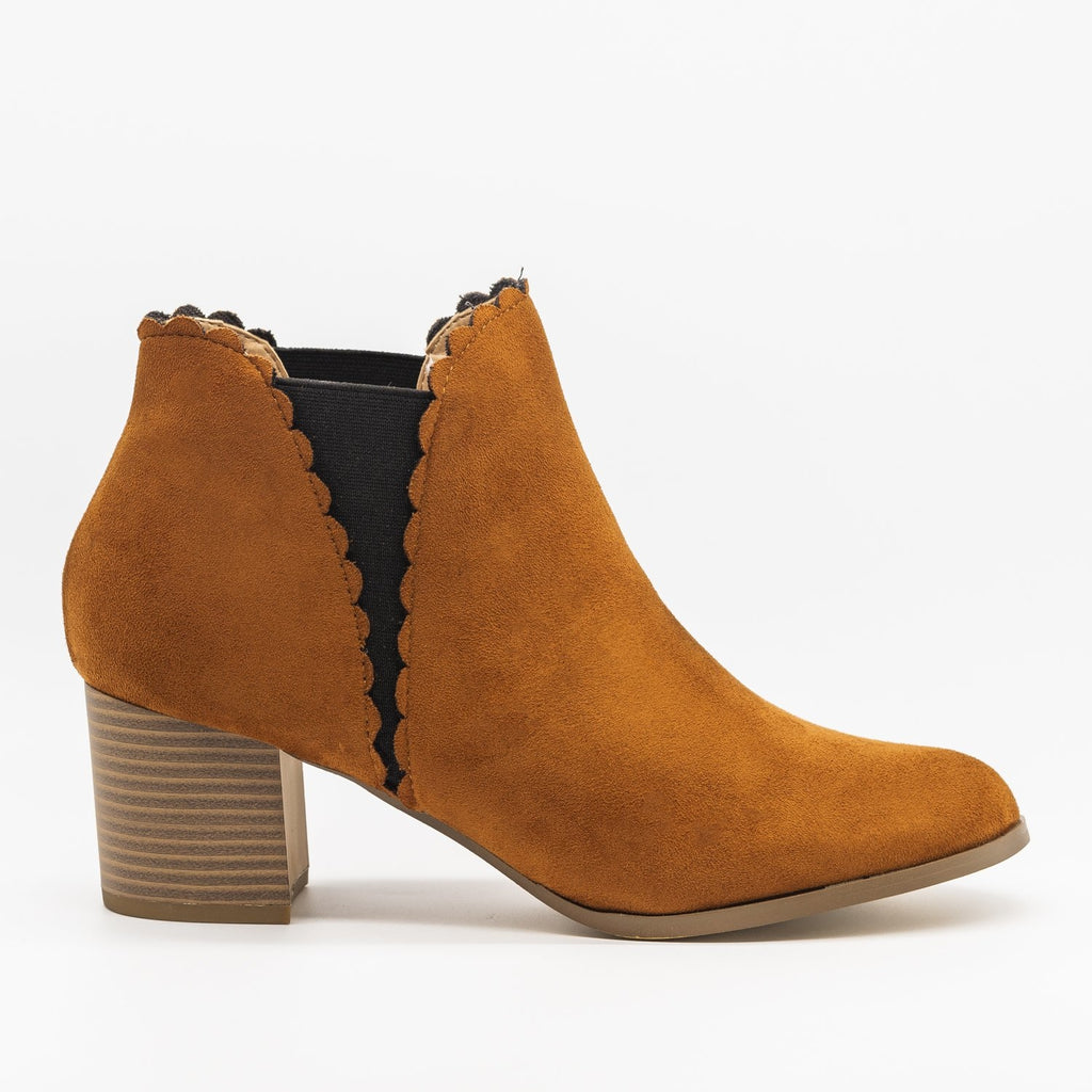 Womens Scalloped Side Cut Ankle Booties - AMS Shoes - Cognac / 5