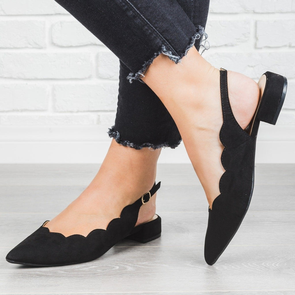 Womens Scalloped Slingback Flats - Wild Diva Shoes