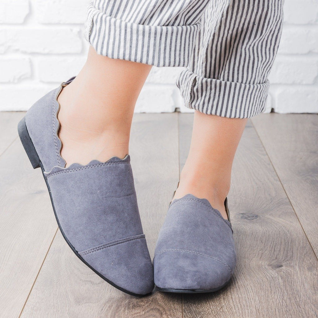 Womens Scalloped Slip-On Flats - Qupid Shoes - Steel Grey / 5