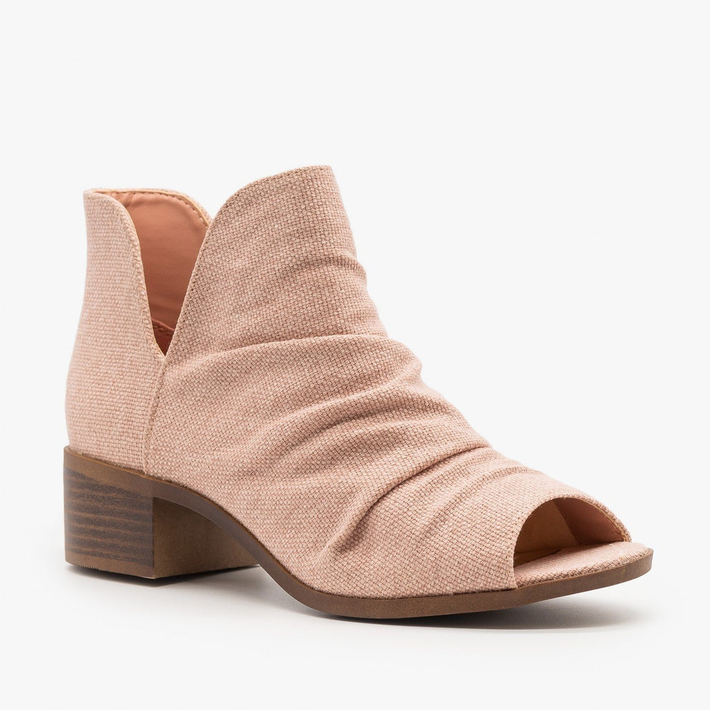 Womens Scrunched Canvas Peep Toe Booties - Mata - Light Pink / 5
