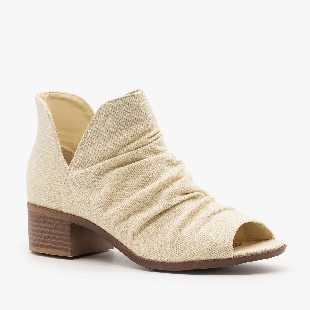 Womens Scrunched Canvas Peep Toe Booties - Mata - Beige / 5