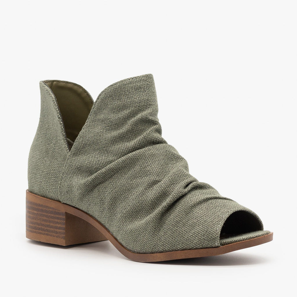 Womens Scrunched Canvas Peep Toe Booties - Mata - Khaki / 5