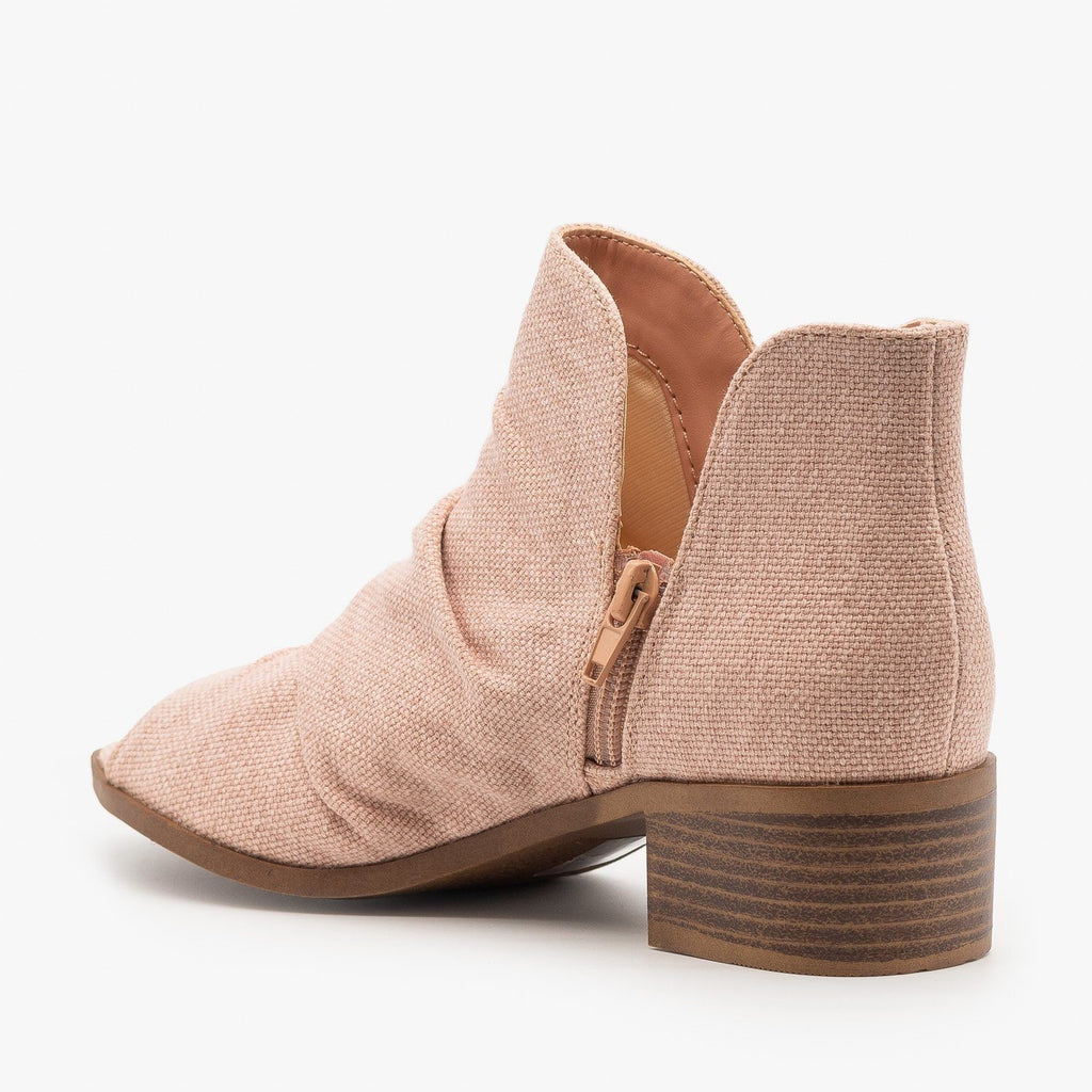 Womens Scrunched Canvas Peep Toe Booties - Mata