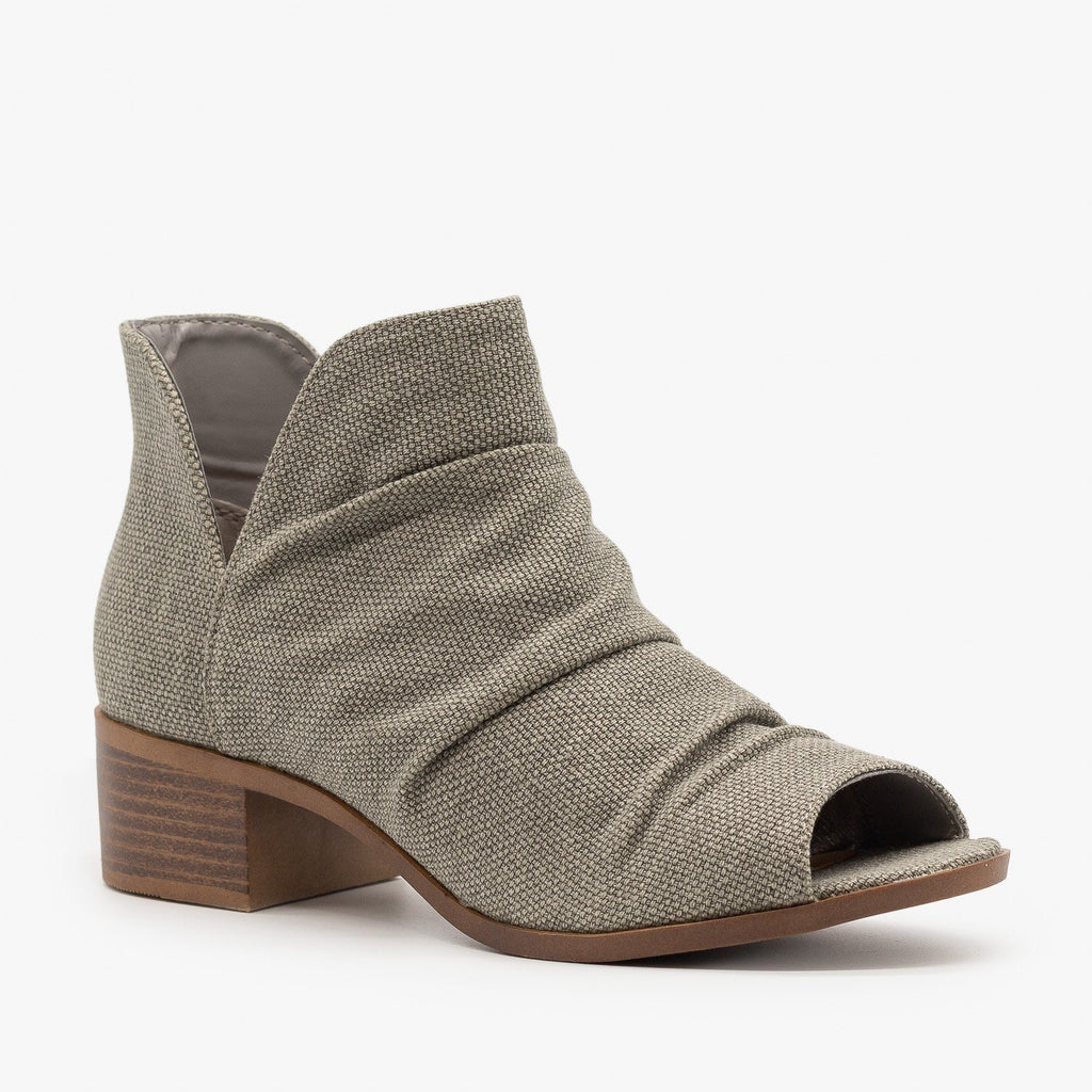 Womens Scrunched Canvas Peep Toe Booties - Mata - Taupe / 5