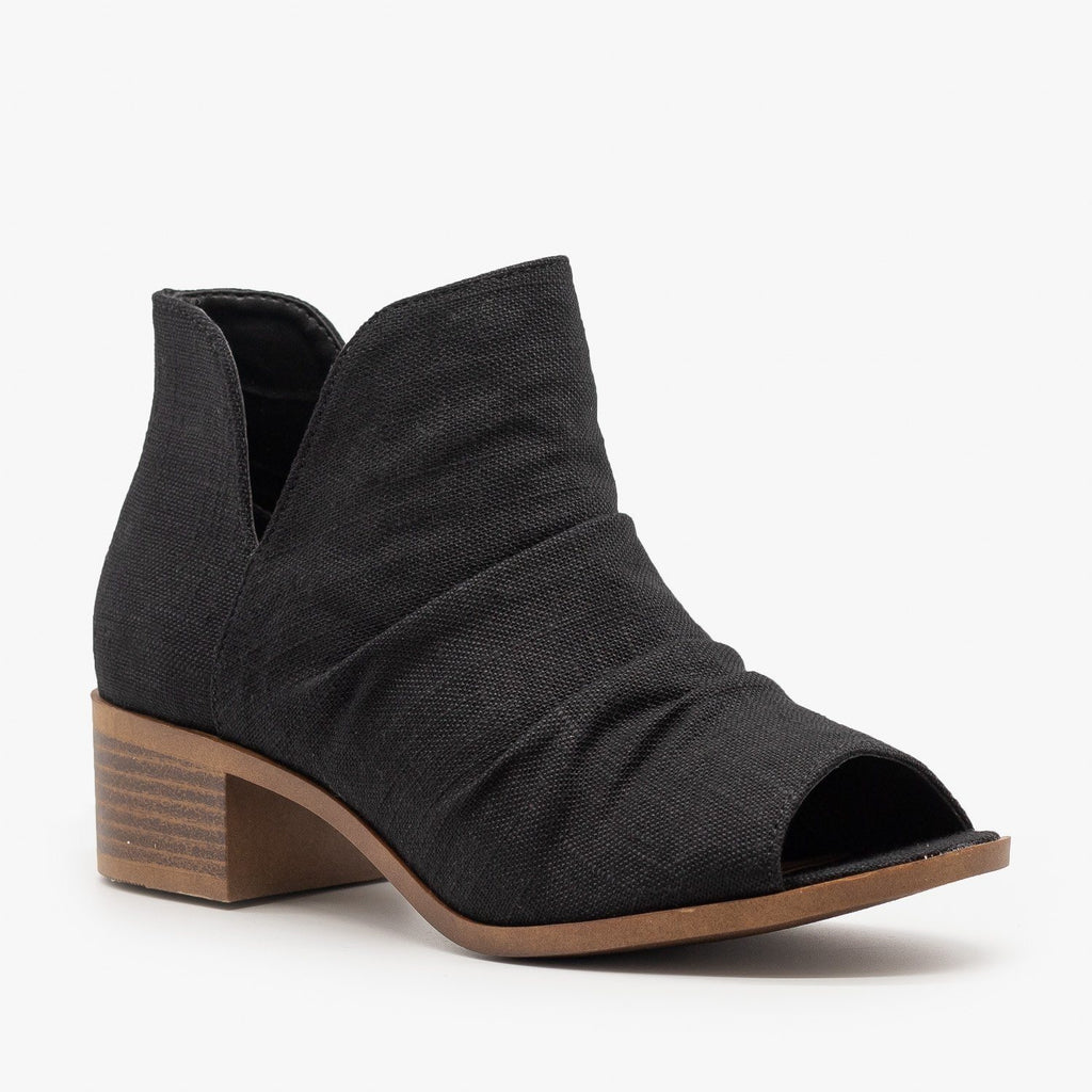 Womens Scrunched Canvas Peep Toe Booties - Mata - Black / 5