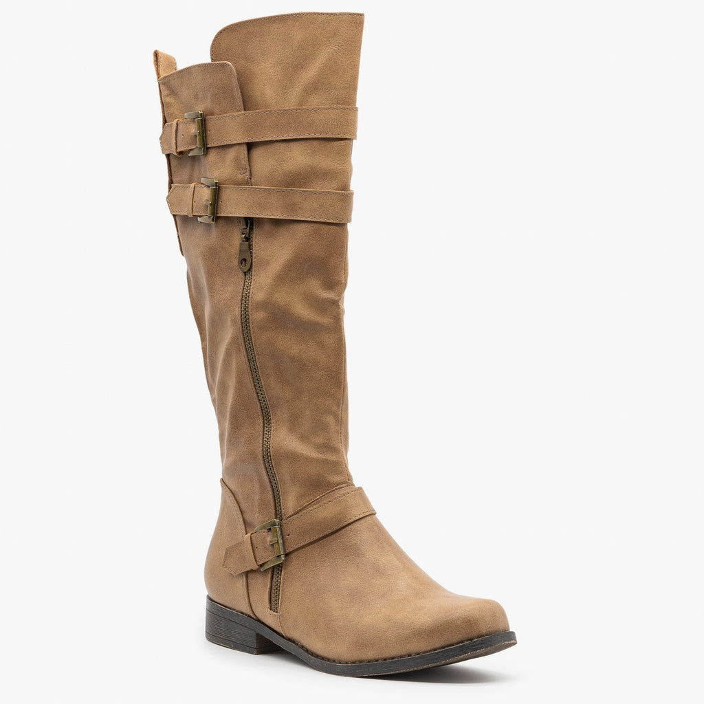 Womens Semi Slouchy Riding Boots - Fashion Focus