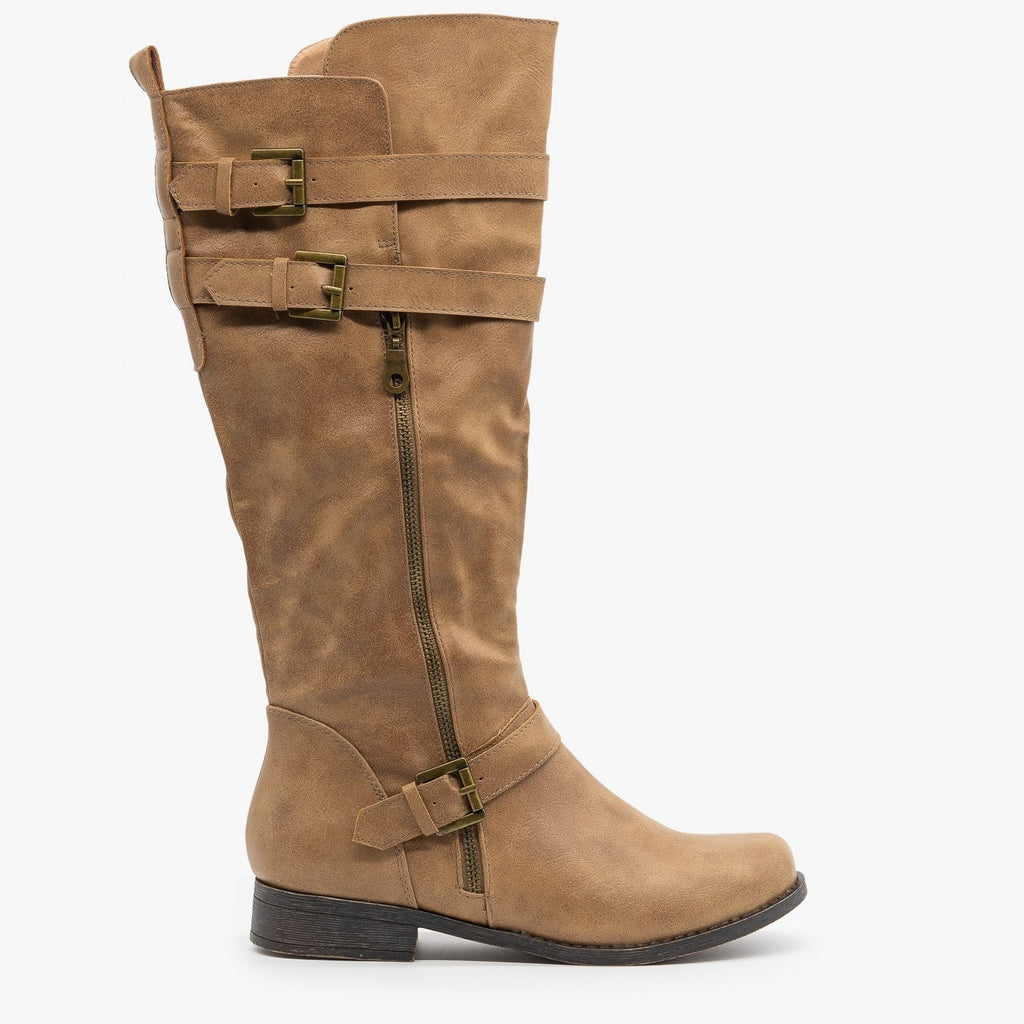 Womens Semi Slouchy Riding Boots - Fashion Focus - Taupe / 5