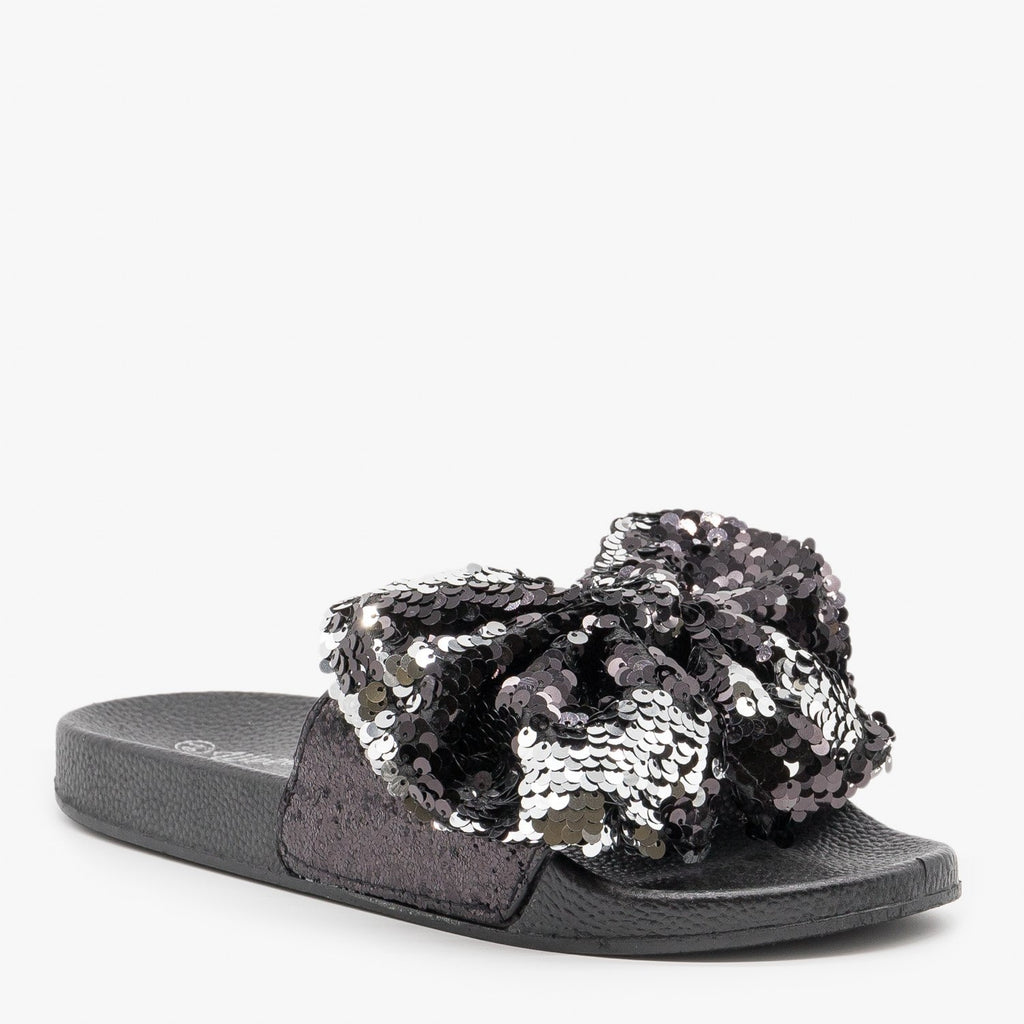 Women's Sequin Bow Slides - Weeboo - Black / 5