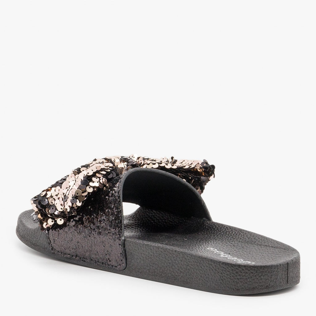 Women's Sequin Bow Slides - Weeboo