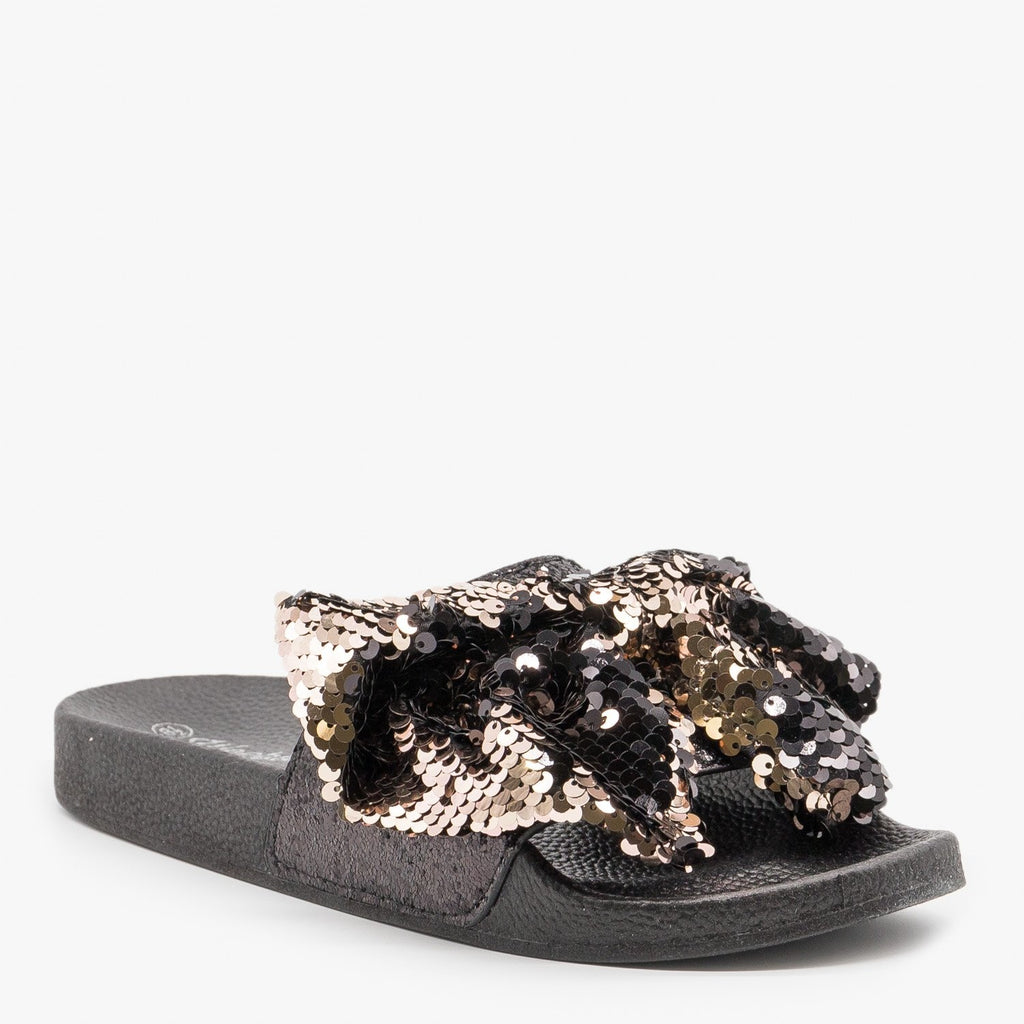 Women's Sequin Bow Slides - Weeboo - Rose Gold / 5