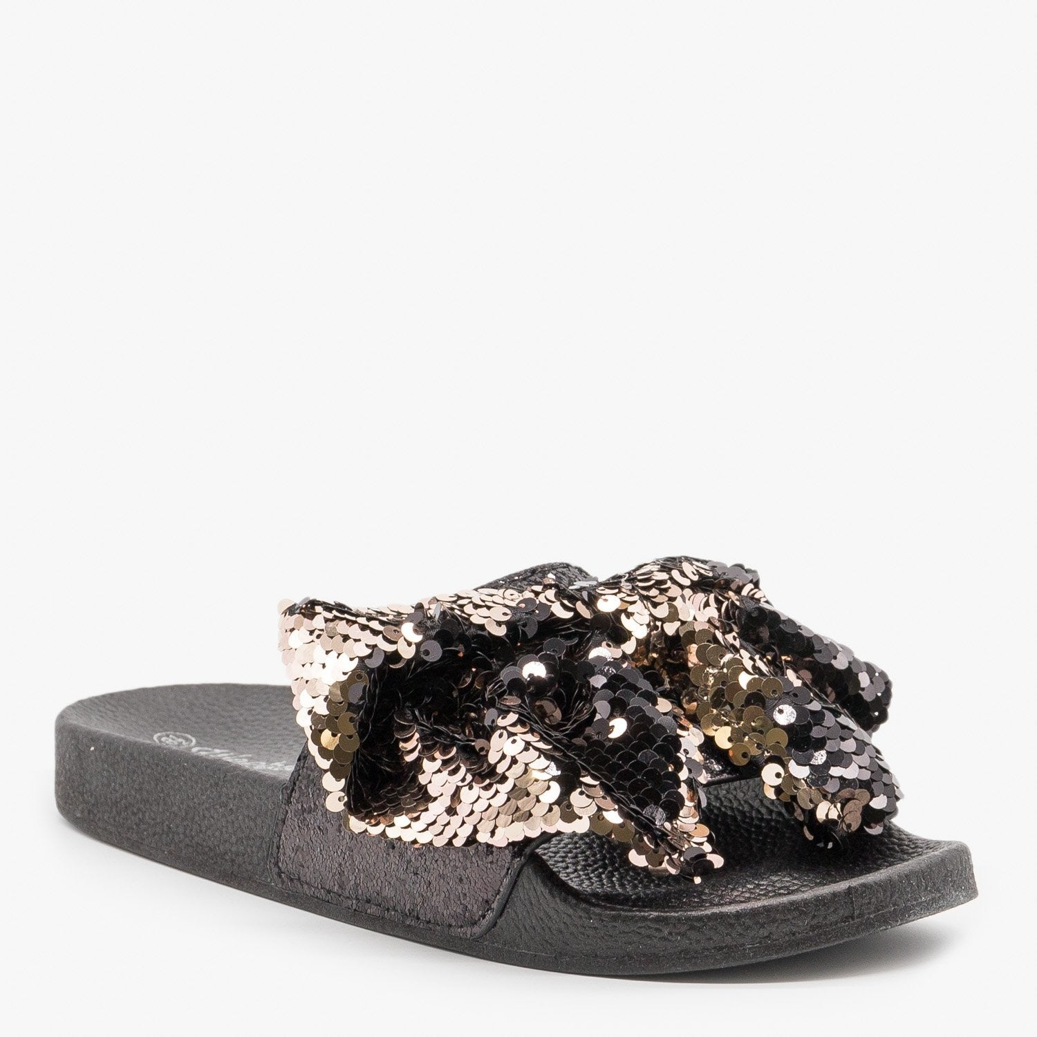 Sequin Bow Slides Weeboo Shoes Kelly-01