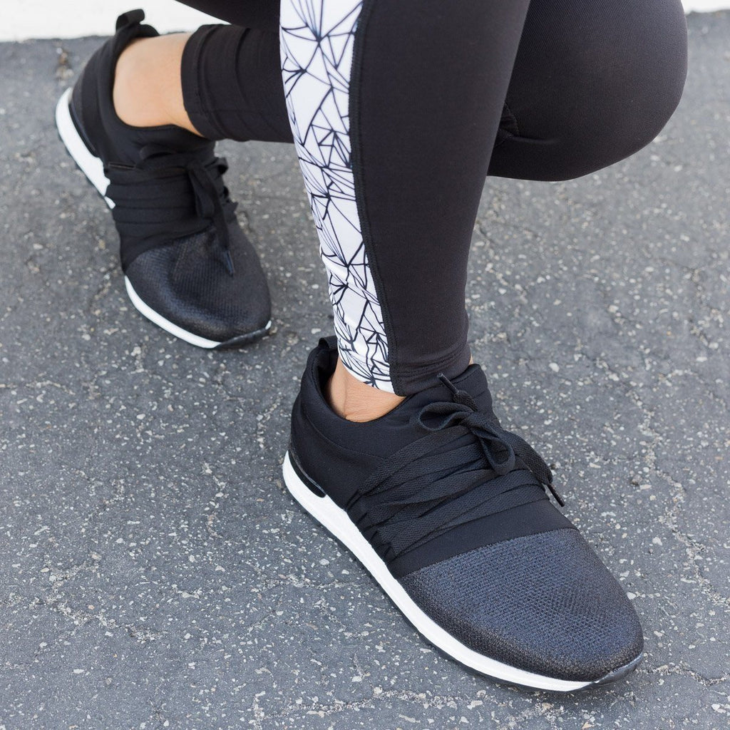Womens Sequin Laced Athleisure Sneakers - Qupid Shoes
