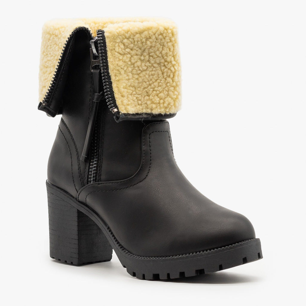 Womens Sherpa Cuff Chunky Heel Booties - Forever