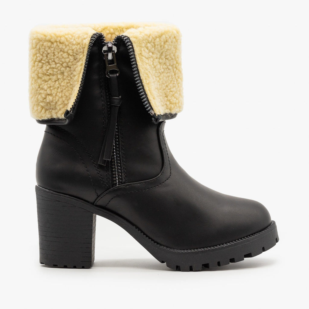 Womens Sherpa Cuff Chunky Heel Booties - Forever - Black / 5